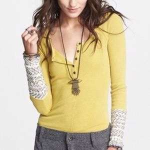Free people alpine cuff Henley thermal-medium